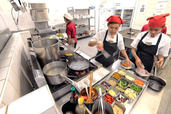 Students involed in food preparation